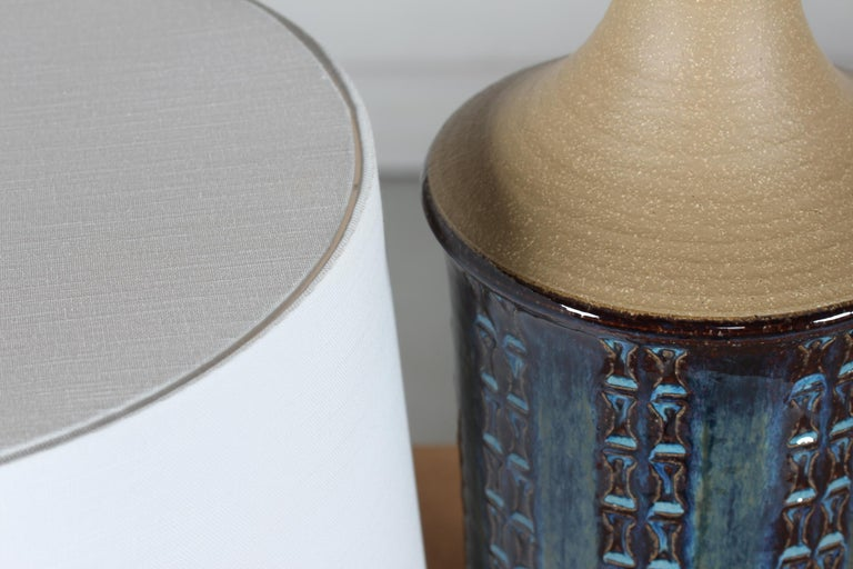 Pair of Tall Stoneware Table Lamps by Maria Philippi for Søholm, Denmark 1960´s In Good Condition For Sale In Aarhus C, DK