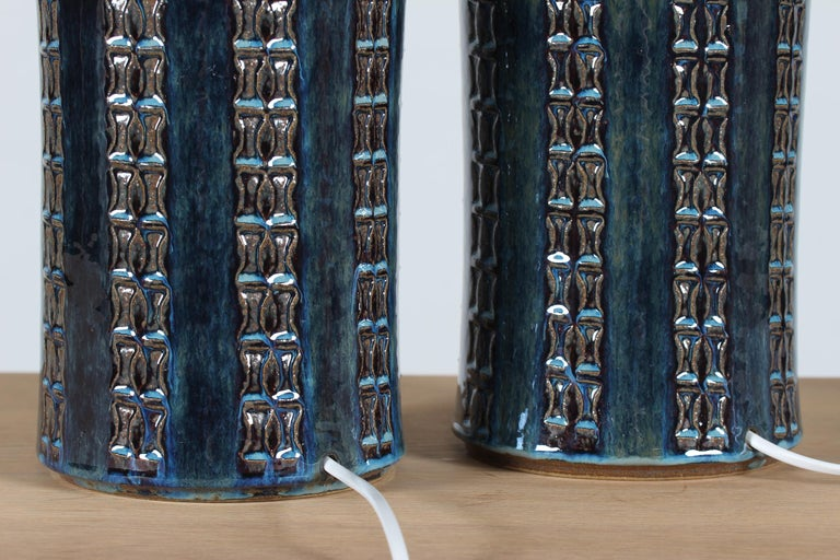 Pair of Tall Stoneware Table Lamps by Maria Philippi for Søholm, Denmark 1960´s For Sale 1