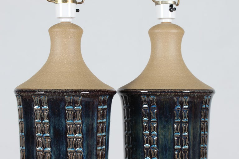 Pair of Tall Stoneware Table Lamps by Maria Philippi for Søholm, Denmark 1960´s For Sale 2