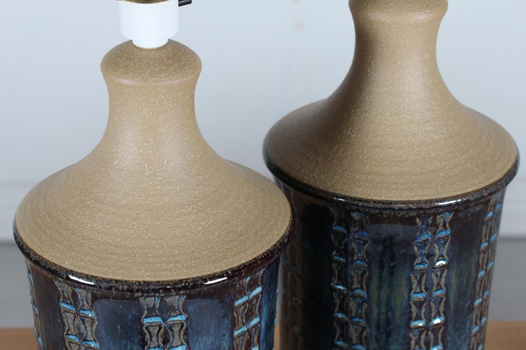 Pair of Tall Stoneware Table Lamps by Maria Philippi for Søholm, Denmark 1960´s For Sale 3