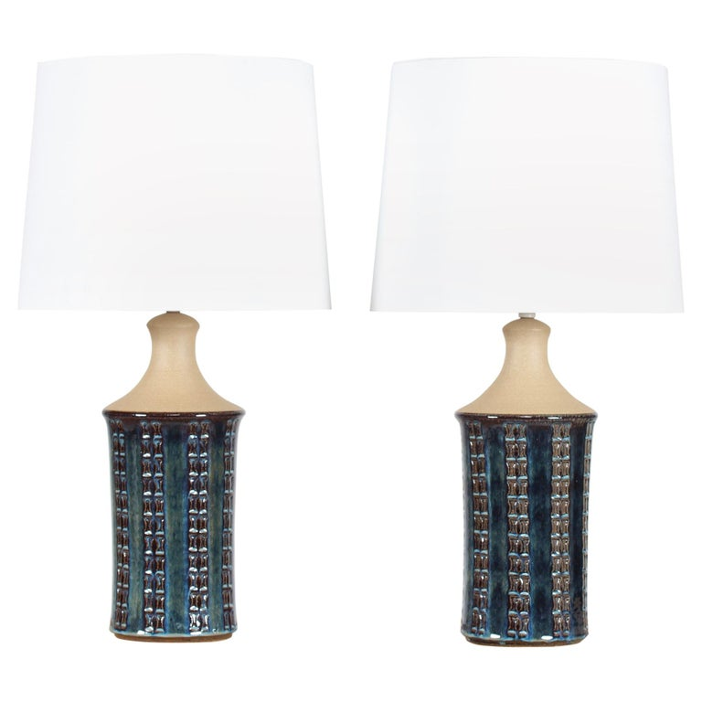 Pair of Tall Stoneware Table Lamps by Maria Philippi for Søholm, Denmark 1960´s For Sale