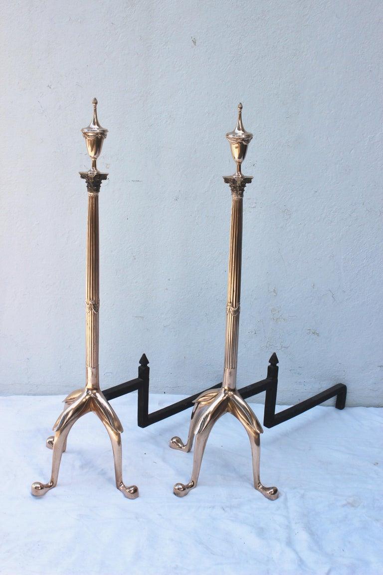 Pair of fabulous tall Swedish brass andirons.