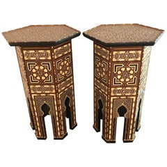 Pair of Tall Syrian End Tables Pedestals Stackable