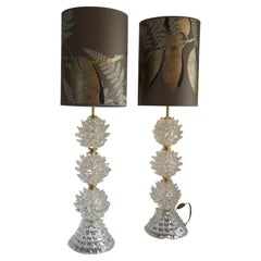 Pair of Tall Table Lamps in Clear Rostrato Murano Glass