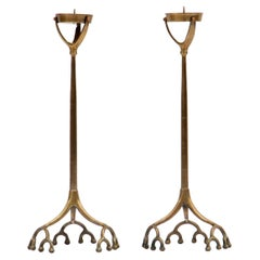 Pair of Tall Tiffany Studios Style Brass Root Candlesticks