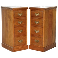 Pair of Tall Victorian Walnut Chest of Drawers, Lamp Wine Occasional End Tables