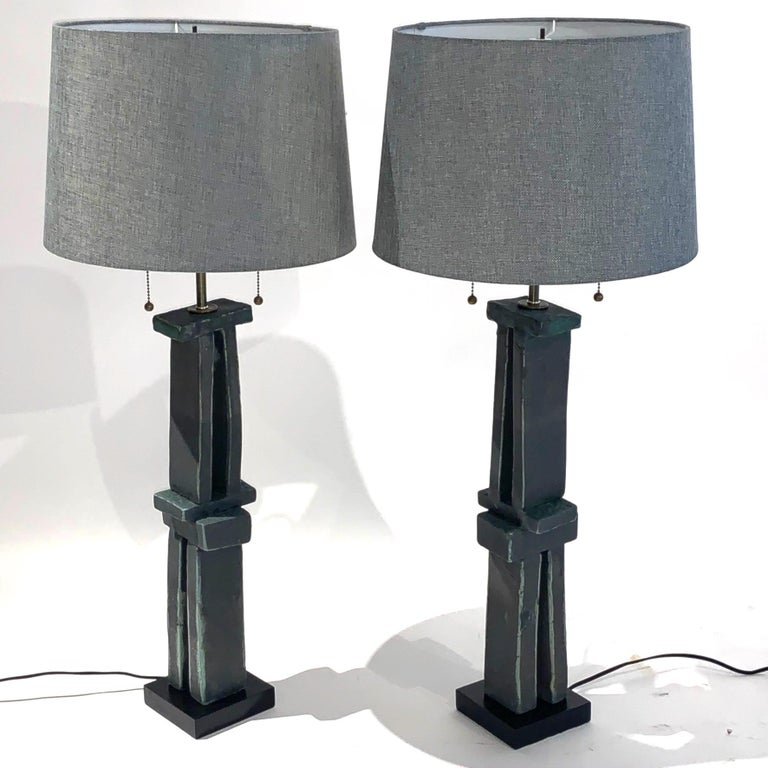 Pair of Tall 'Weathered Bronze' Ceramic Sculpture Lamps by Judy Engel For Sale 4