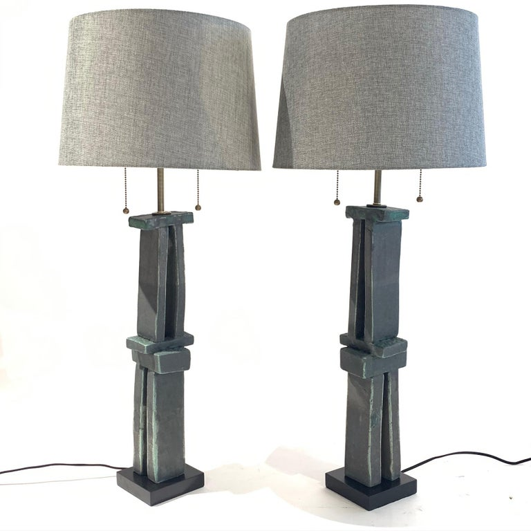 Contemporary Pair of Tall 'Weathered Bronze' Ceramic Sculpture Lamps by Judy Engel For Sale