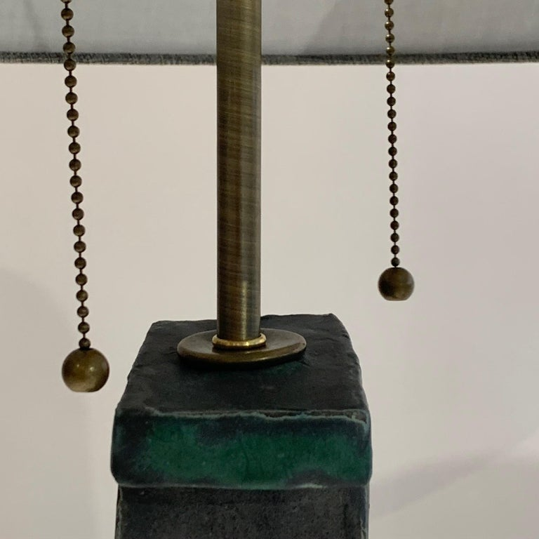 Brass Pair of Tall 'Weathered Bronze' Ceramic Sculpture Lamps by Judy Engel For Sale