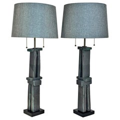 Pair of Tall 'Weathered Bronze' Ceramic Sculpture Lamps by Judy Engel