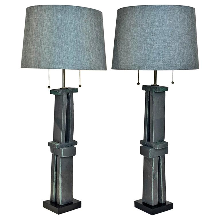 Pair of Tall 'Weathered Bronze' Ceramic Sculpture Lamps by Judy Engel For Sale