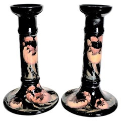 Pair of Tall William Moorcroft Poppy Patterned Art Pottery Candlesticks