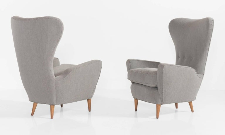 Modern Pair of Tall Wingback Italian Armchairs, circa 1950 For Sale