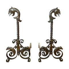 Pair of Tall Wrought Iron Andirons with Parrot and Chameleon Motif, Circa 1880
