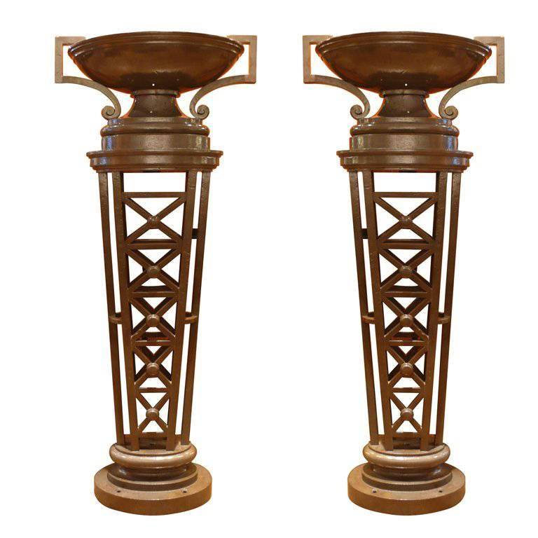 Pair of Tall, Neoclassic Cast-Iron Columns For Sale