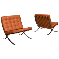 Pair of Tan Barcelona Chairs by Ludwig Mies Van Der Rohe, circa 1990