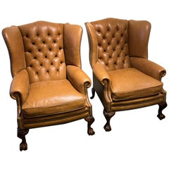 Pair of Tan English Leather Wing Armchairs