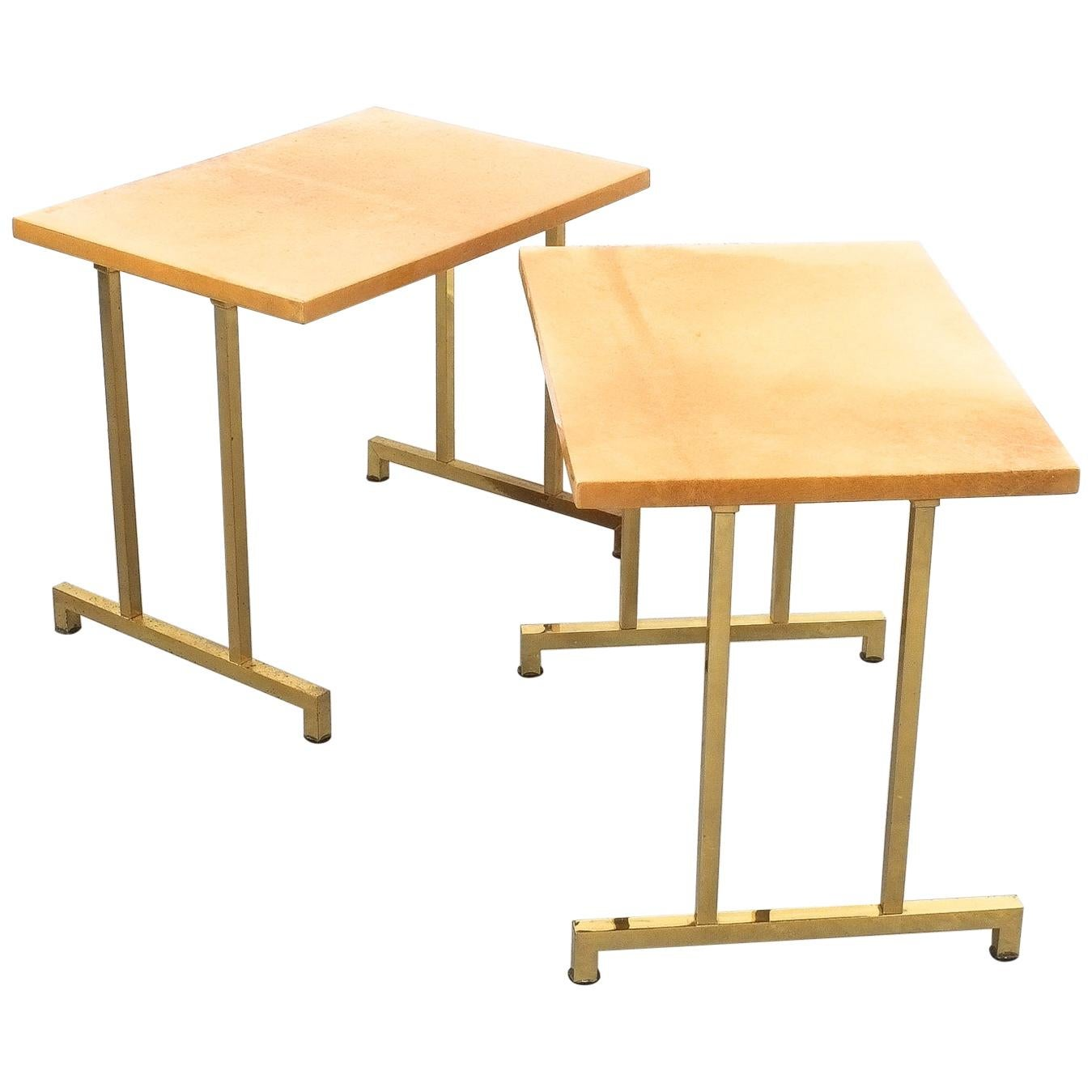 Pair of Tan Parchment Brass Coffee or Side Tables Aldo Tura, Italy, 1970