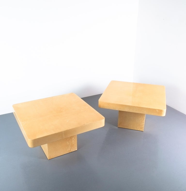 Pair of parchment tables by Aldo Tura Coffee Side, Italy, 1970  Nice pair of tan coffee tables from parchment in immaculate condition, priced as a pair. They can be used as side tables also due to the size (27.8 x 27.8