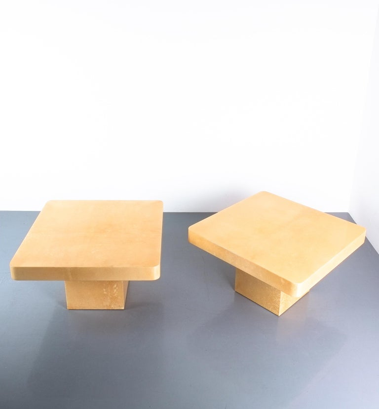 Mid-Century Modern Pair of Tan Parchment Coffee or Side Tables Aldo Tura, Italy, 1970 For Sale