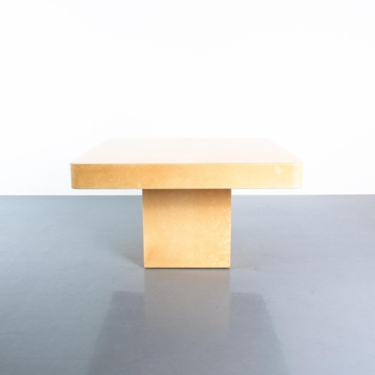Polished Pair of Tan Parchment Coffee or Side Tables Aldo Tura, Italy, 1970 For Sale