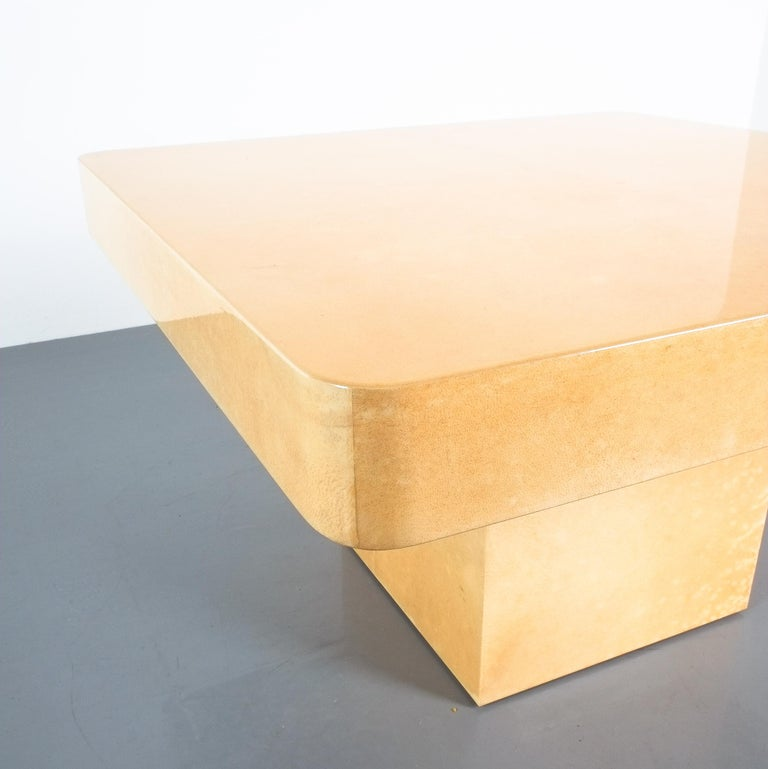 Late 20th Century Pair of Tan Parchment Coffee or Side Tables Aldo Tura, Italy, 1970 For Sale