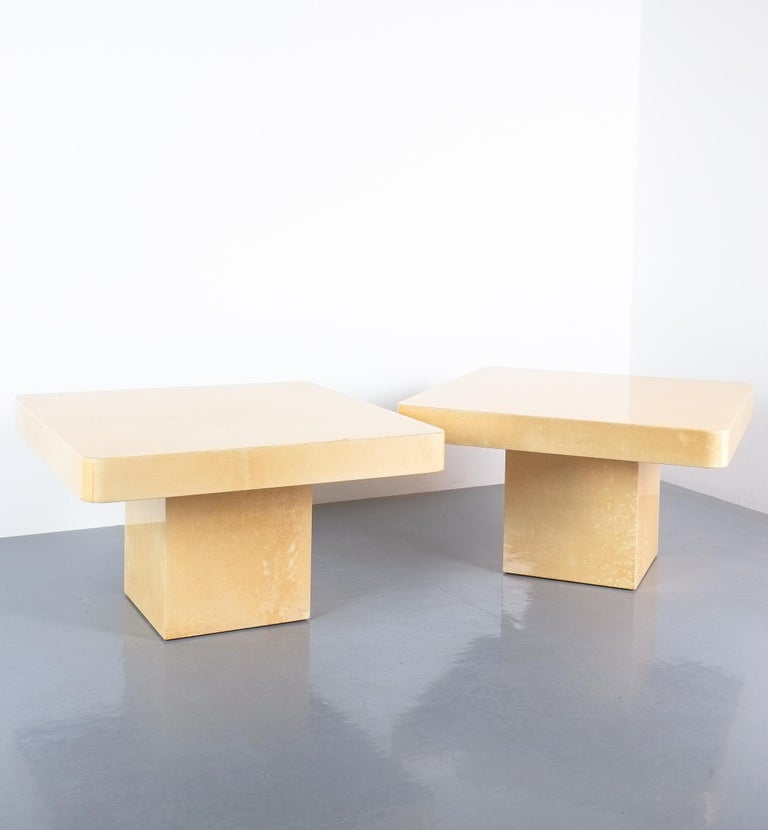 Pair of Tan Parchment Coffee or Side Tables Aldo Tura, Italy, 1970 For Sale 1