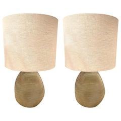 Tan Textured Horizontal Rib Glass Pair of Lamps, Romania, Contemporary
