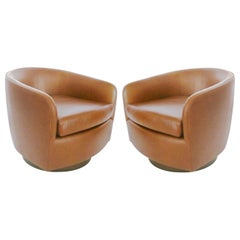 Pair of Tan Tilt Swivel Club Lounge Chairs by Milo Baughman