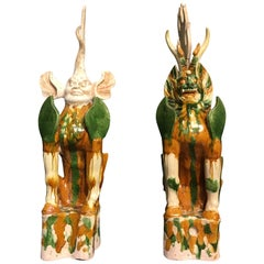 Pair of Tang Dynasty Sancai Glazed Tomb Guardians, Zhenmushou, 7th-8th Century