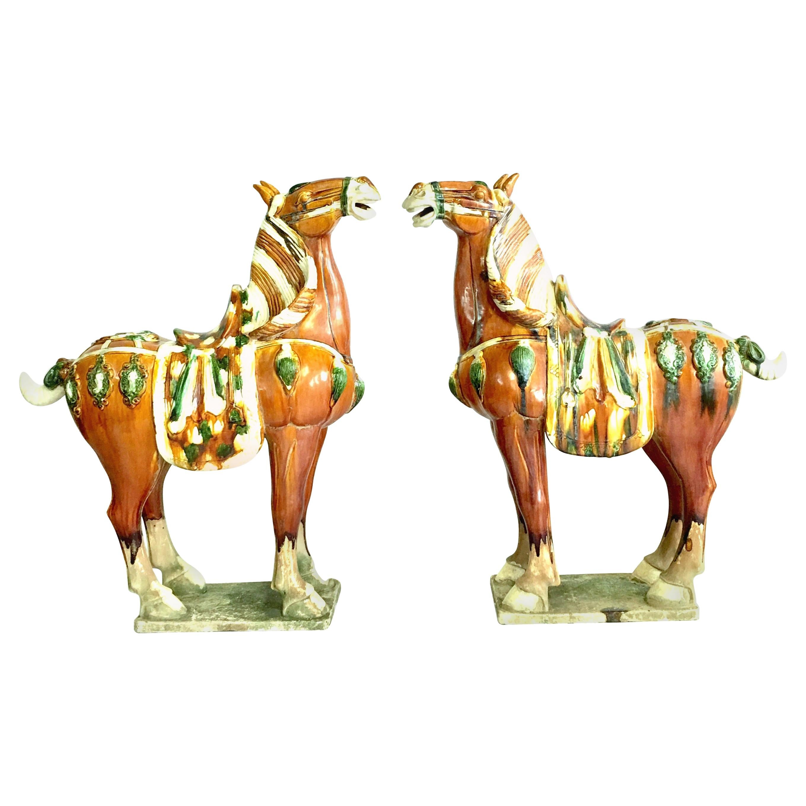 Mid-20th Century Pair of Tang Style Large Sancai Glazed Teracotta Horses