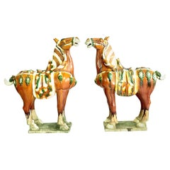 Pair of Tang Style Large Sancai Glazed Teracotta Horses