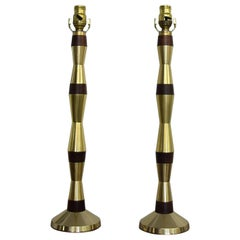 Pair of Tapered Brass Table Lamps Mahogany Contrast after Tony Paul 1960s Modern