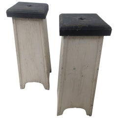 Pair of Tapered C1925 Wooden with Old Paint Plant Stands Pedestals