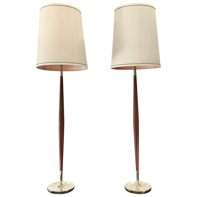 Pair of Tapered Walnut and Brass Floor Lamps by Stiffel For Sale