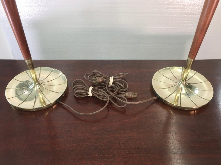 Pair of Tapered Walnut and Brass Floor Lamps by Stiffel For Sale 8