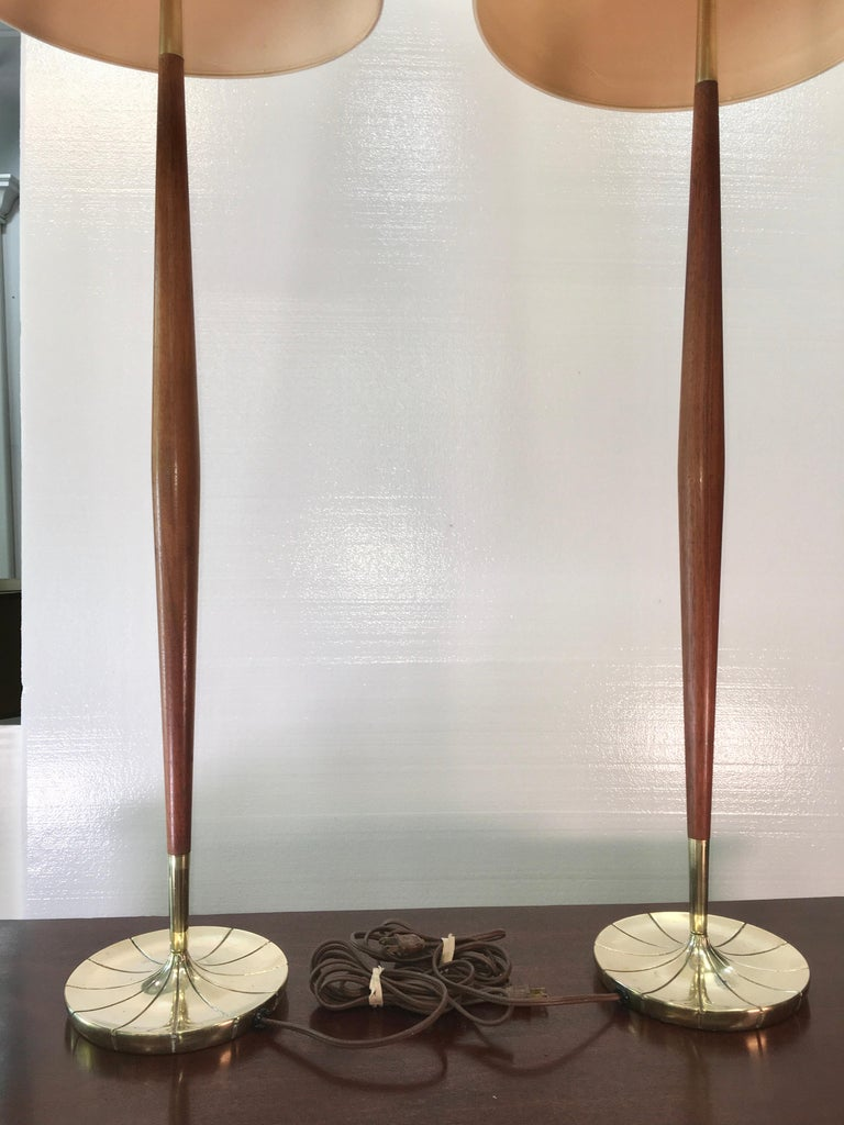 Pair of Tapered Walnut and Brass Floor Lamps by Stiffel For Sale 9