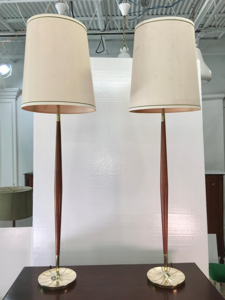 Plated Pair of Tapered Walnut and Brass Floor Lamps by Stiffel For Sale