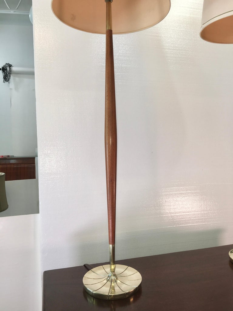 Pair of Tapered Walnut and Brass Floor Lamps by Stiffel For Sale 1