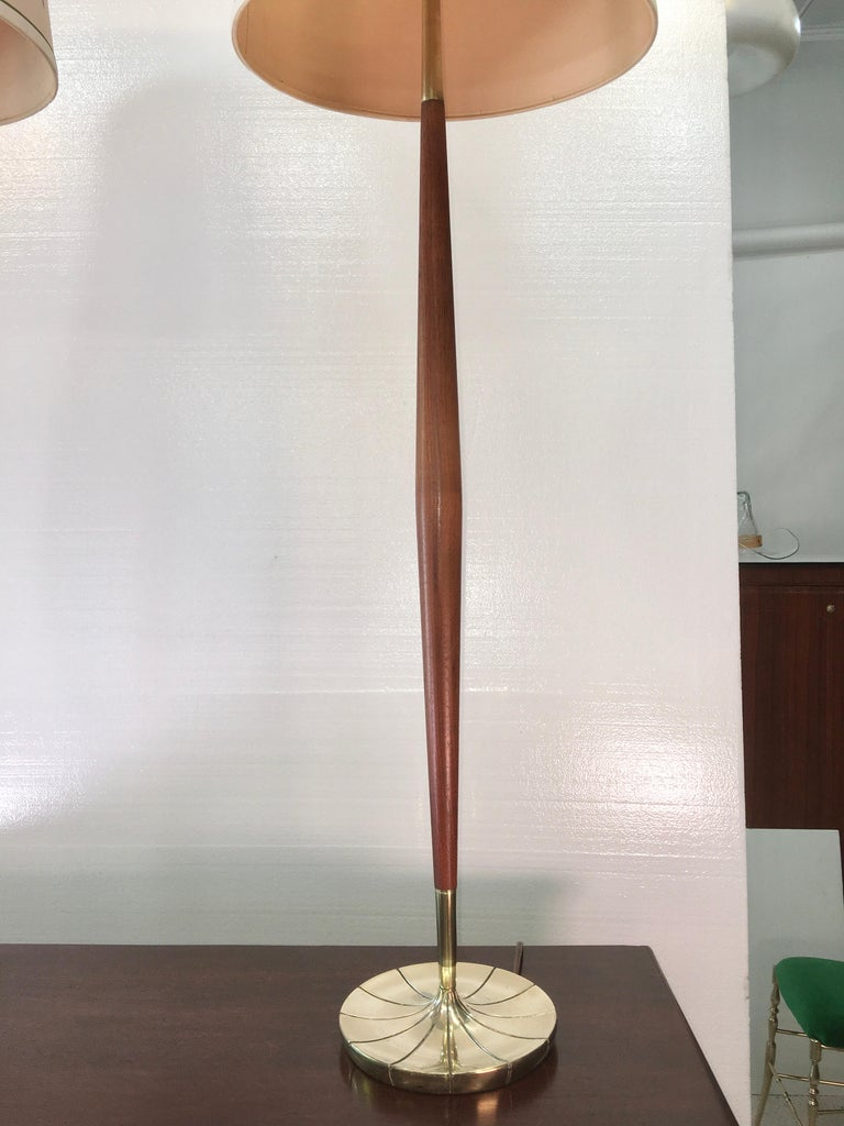 Pair of Tapered Walnut and Brass Floor Lamps by Stiffel For Sale 2