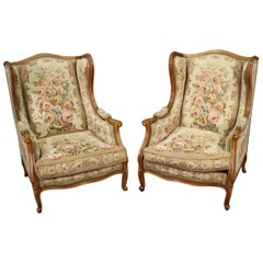 Pair of Tapestry Upholstered French Louis XV Walnut Wingchairs Bergère Chairs