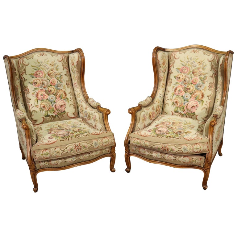 Pair of Tapestry Upholstered French Louis XV Walnut Wingchairs Bergère Chairs For Sale