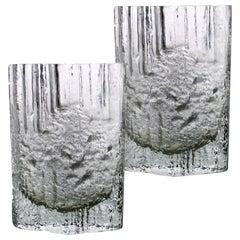 Tapio Wirkkala for Iittala Ice ein Paar Glasvasen