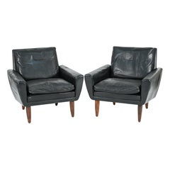 Pair of Tarm Danish Mid-Century Leather Lounge Chairs