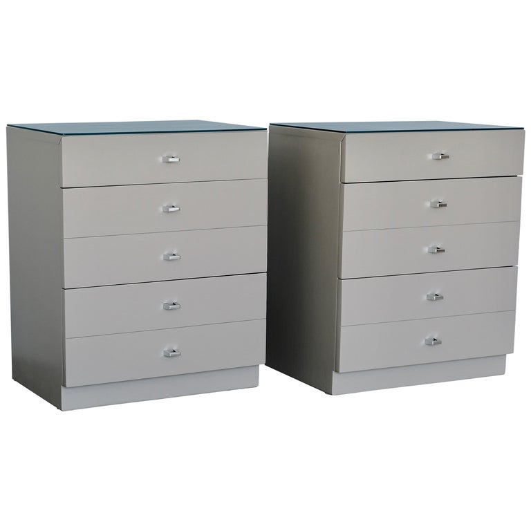 Pair of Taupe and Nickel American of Martinsville Nightstand Chests For Sale