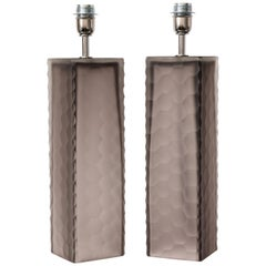 Pair of Taupe Grey Murano Glass Textured Rectangular Block Lamps, Signed, Italy