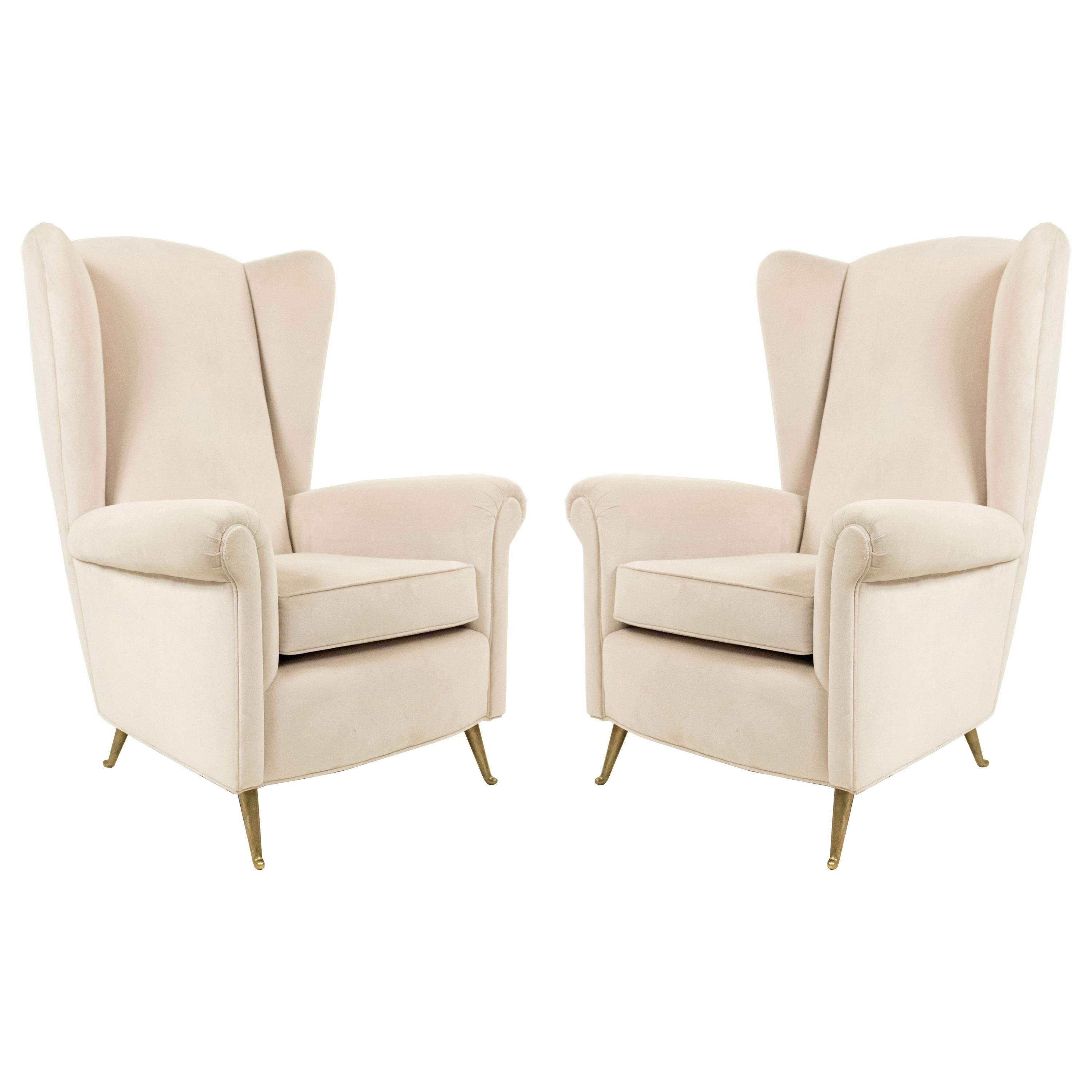 Pair of Taupe Modernist Velvet Wingback Chairs