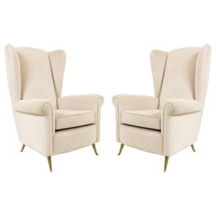 Pair of Taupe Modernist Velvet Diminutive (small scale) Wingback Chairs