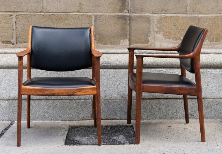 Scandinavian Modern Pair of Teak and Black Leather Torbjørn Afdal