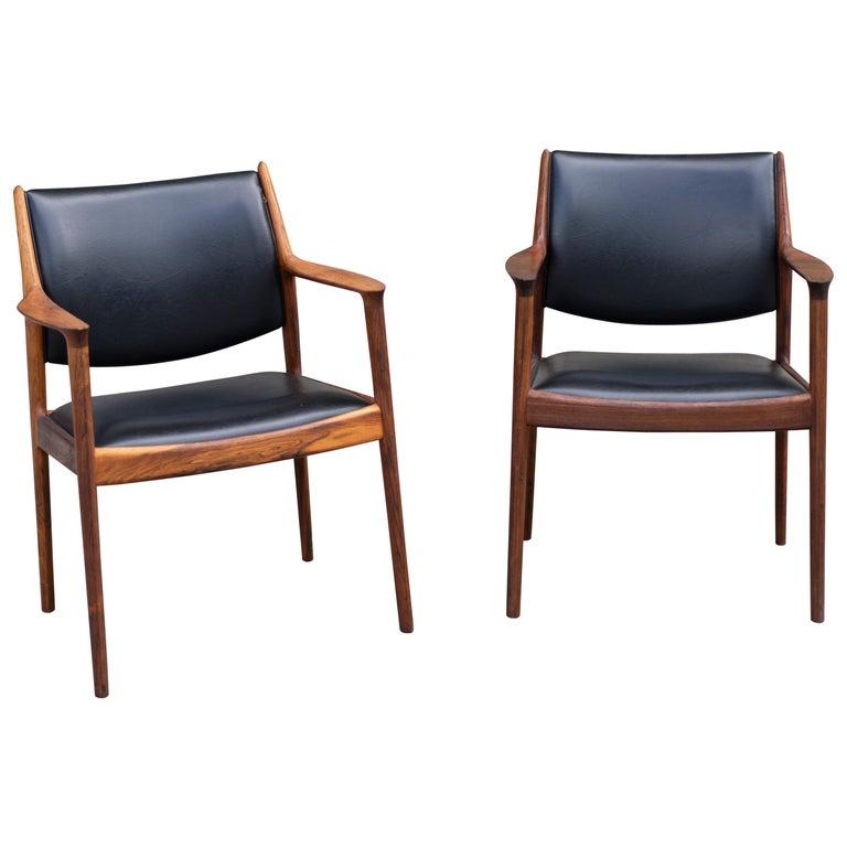 """Pair of Teak and Black Leather Torbjørn Afdal """"Elton"""", Armchairs For Sale"""